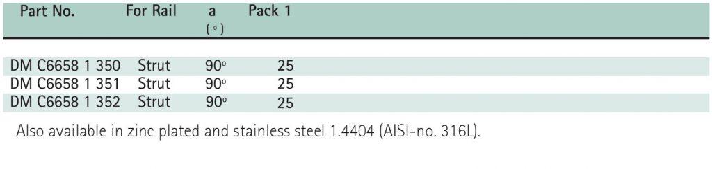 Hira Walraven - BIS Strut Connectors - Size Chart